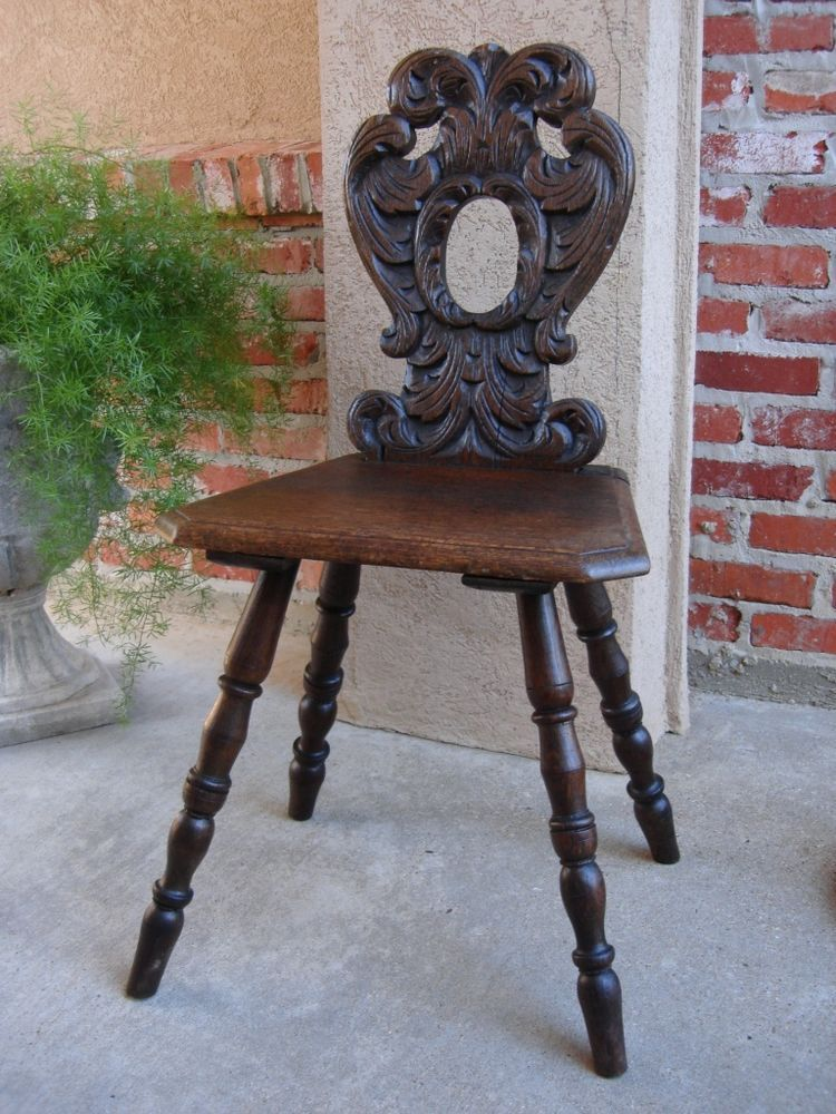 Antique VICTORIAN English Oak Carved Side Desk Hall CHAIR