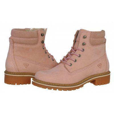 timeless design 9142d 200d5 Ghete damă din piele naturală cu șireturi Tamaris roz ...