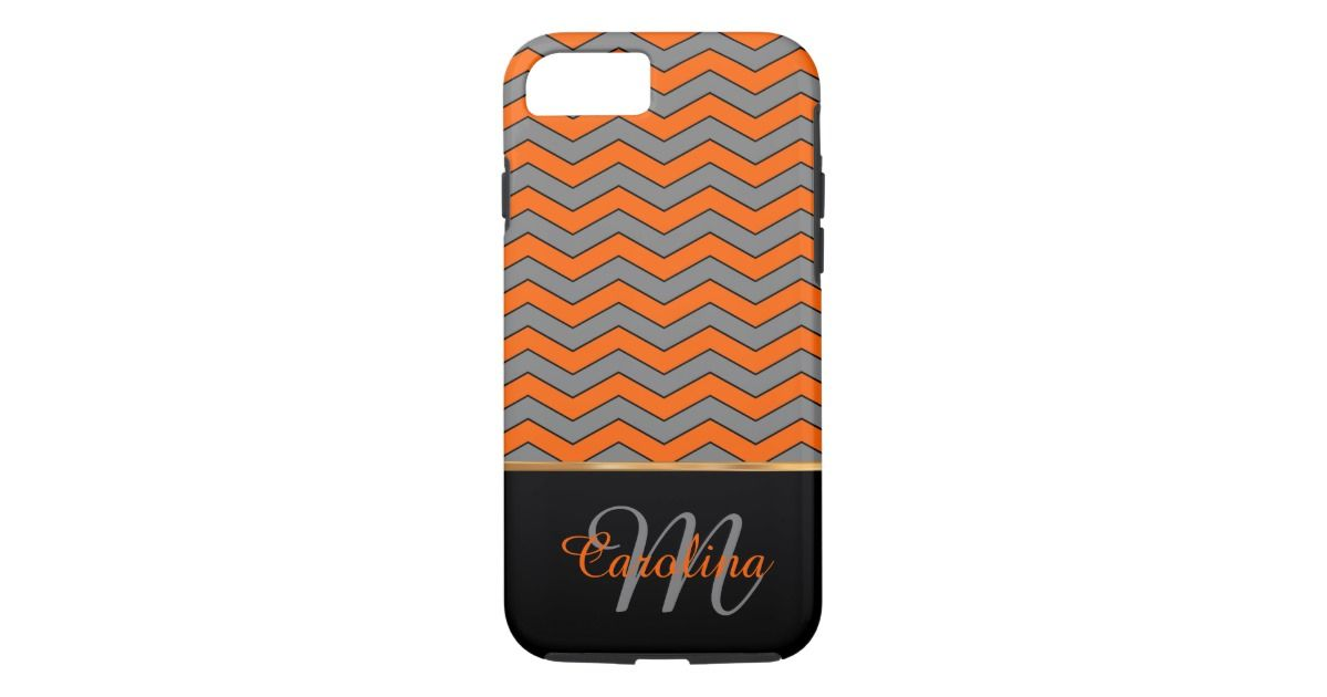 Orange Chevron Pattern, Name and Monogram iPhone 7 Case #iphone7case #iphone7cases