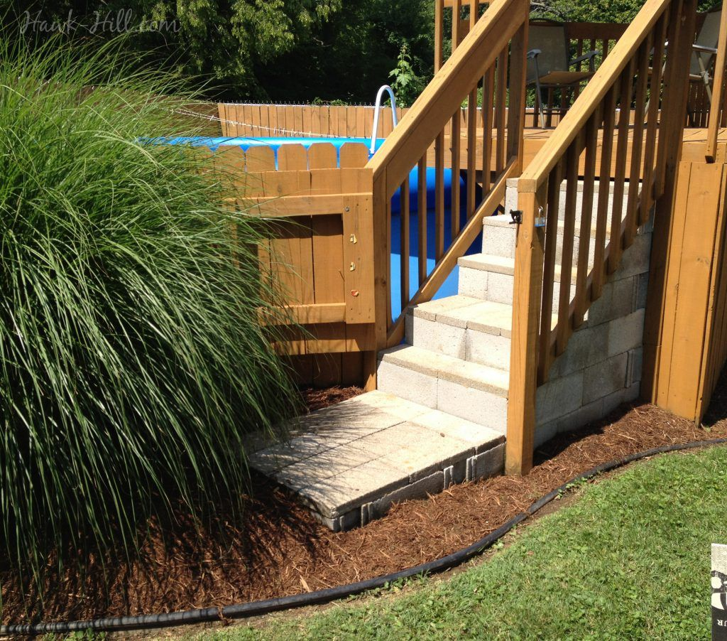 Concrete Steps Wood Deck And Landscaping Around Above Ground Pool Above Ground Pool Steps Above Ground Pool Stairs Above Ground Pool Landscaping