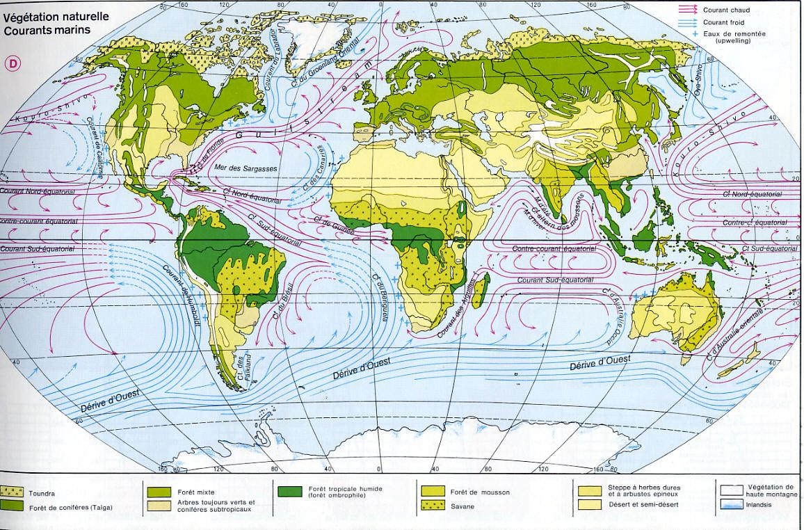 carte du monde courants marins | Maps as Representations of the