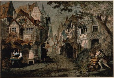 Hans Sachs, Scene 2 from 'Die Meistersinger' by Richard Wagner (coloured engraving) Postcards, Greetings Cards, Art Prints, Canvas, Framed Pictures, T-shirts & Wall Art by German School