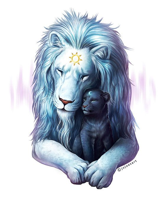 Child of Light - Signed Fine Art Giclee Print - Wall Art - Fantasy Lions Sun and Moon Father and Son - Painting by Jonas Jödicke #father