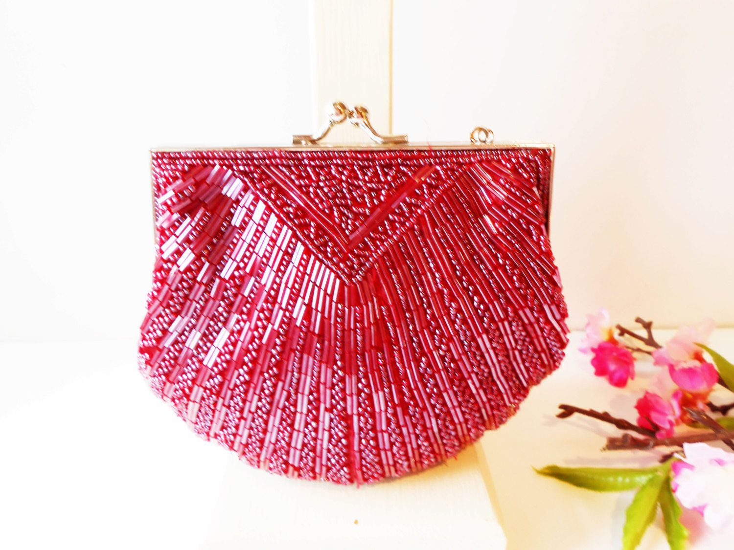 Deep Rose Beaded Evening Bag Clamshell Style Rosy Red Beaded ...