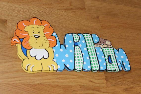 Personalized Childrens Wooden Bedroom Door Name Sign Jungle Animals