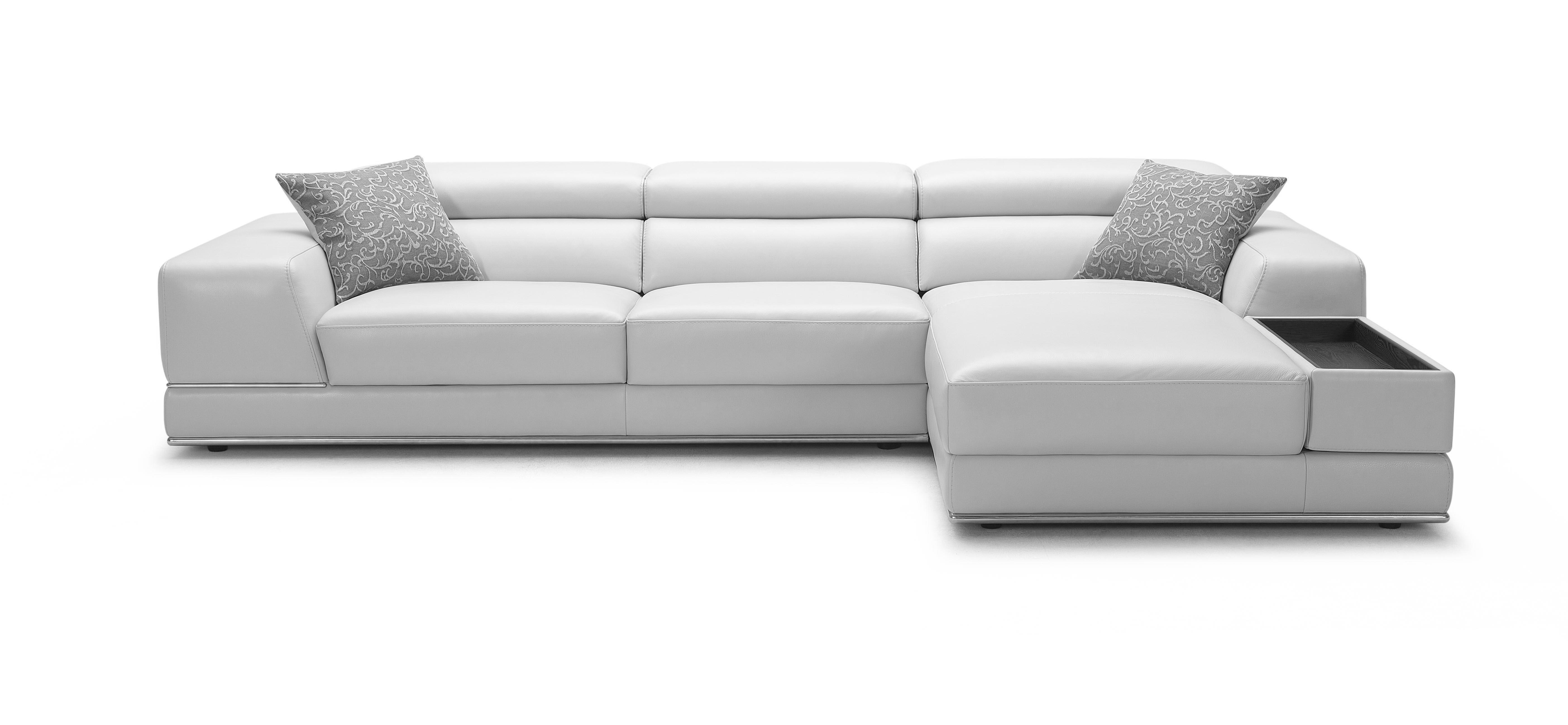 Bergamo White Sectional Leather Sofa