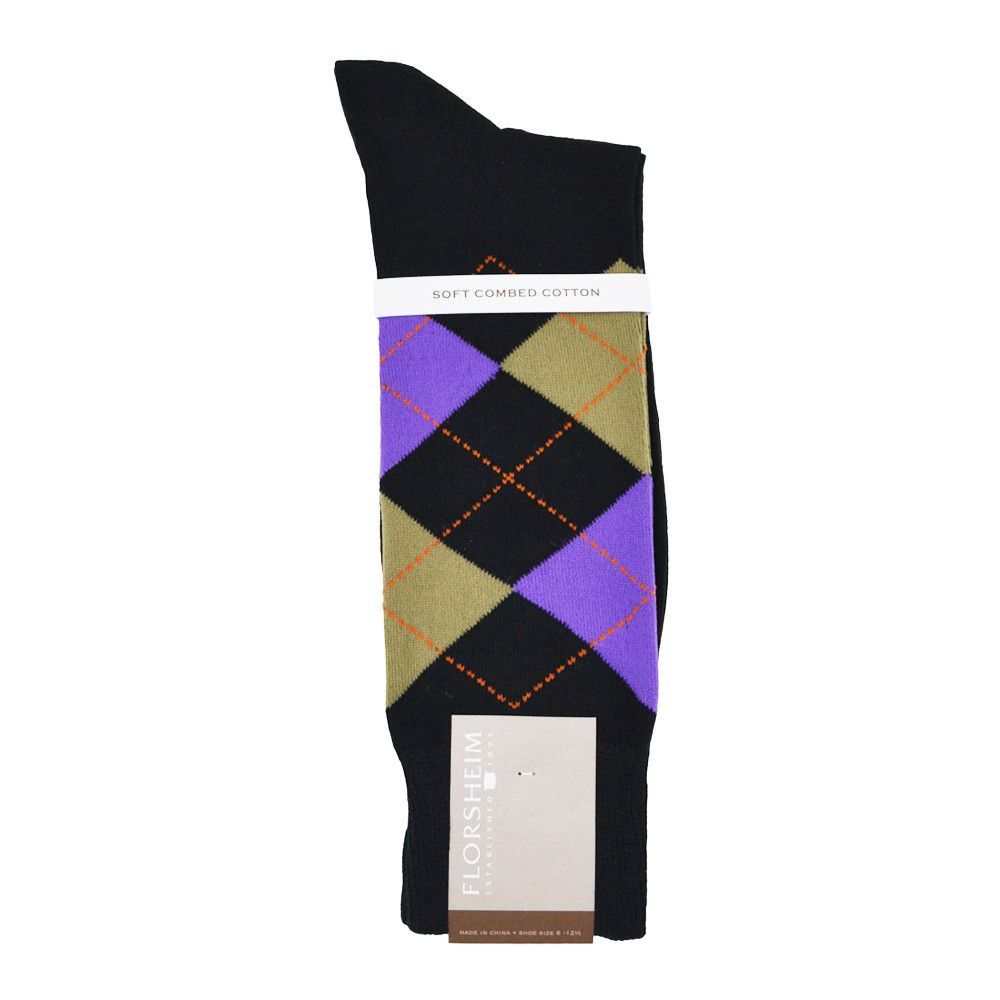 Florsheim Argyle Socks in Black, Beige, and Purple