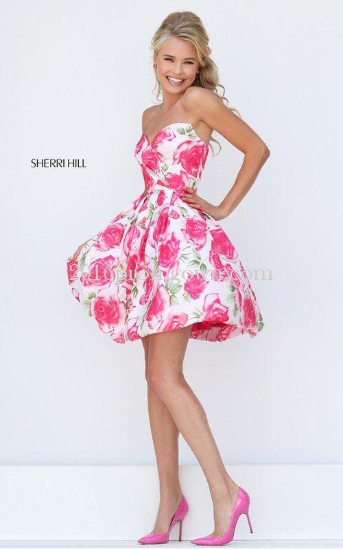 247b443e3d 2016 Sherri Hill 50329 Strapless Pink Floral Short Prom Dress ...