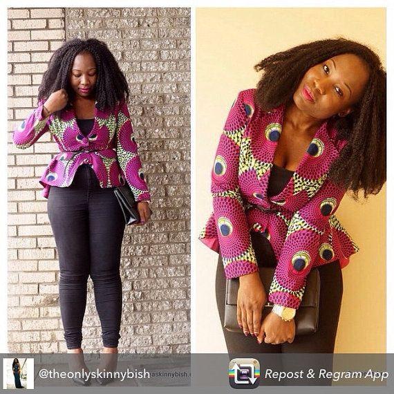 Mode africaine africaine vêtements africains blazer impression blazer peplum Jessica