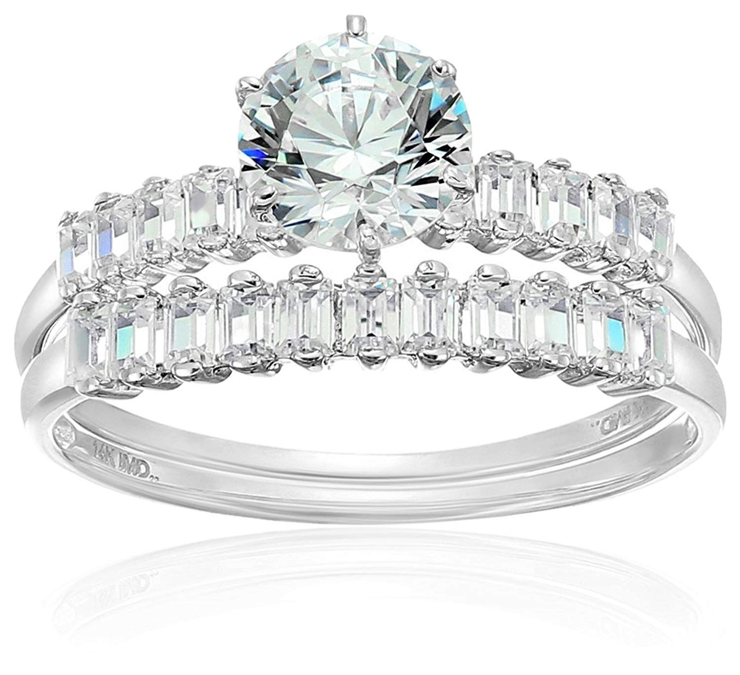 14k White Gold Cubic Zirconia 2Piece Engagement Ring