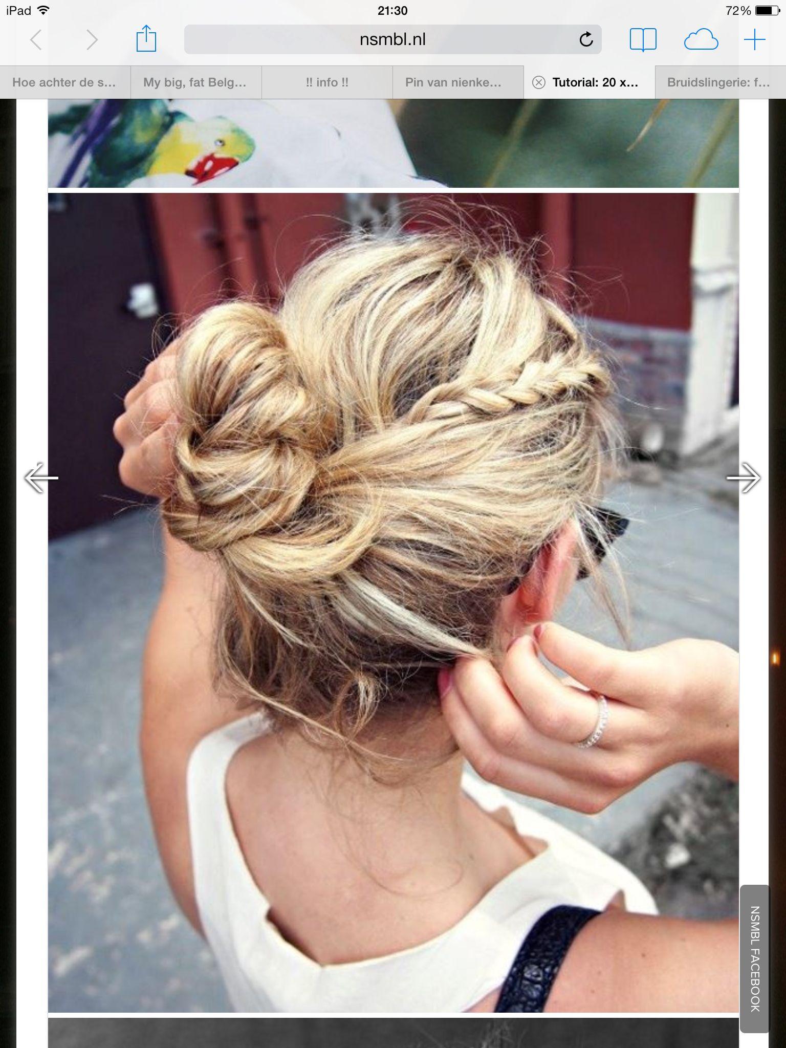 Knot met klein vlechtje beauty pinterest hair hair styles and