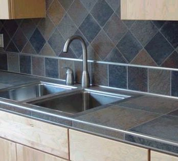 Maybe what my tile counters will look like minus the - Ceramic tile bathroom countertops ...