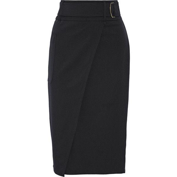 Max Mara Wrap-effect stretch-wool twill pencil skirt ($340 ...