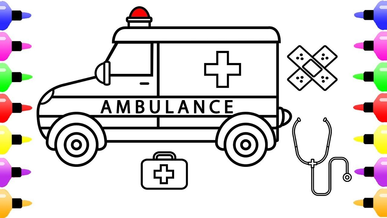 How to Draw Ambulances and Medical Instruments for Kids | Coloring ...