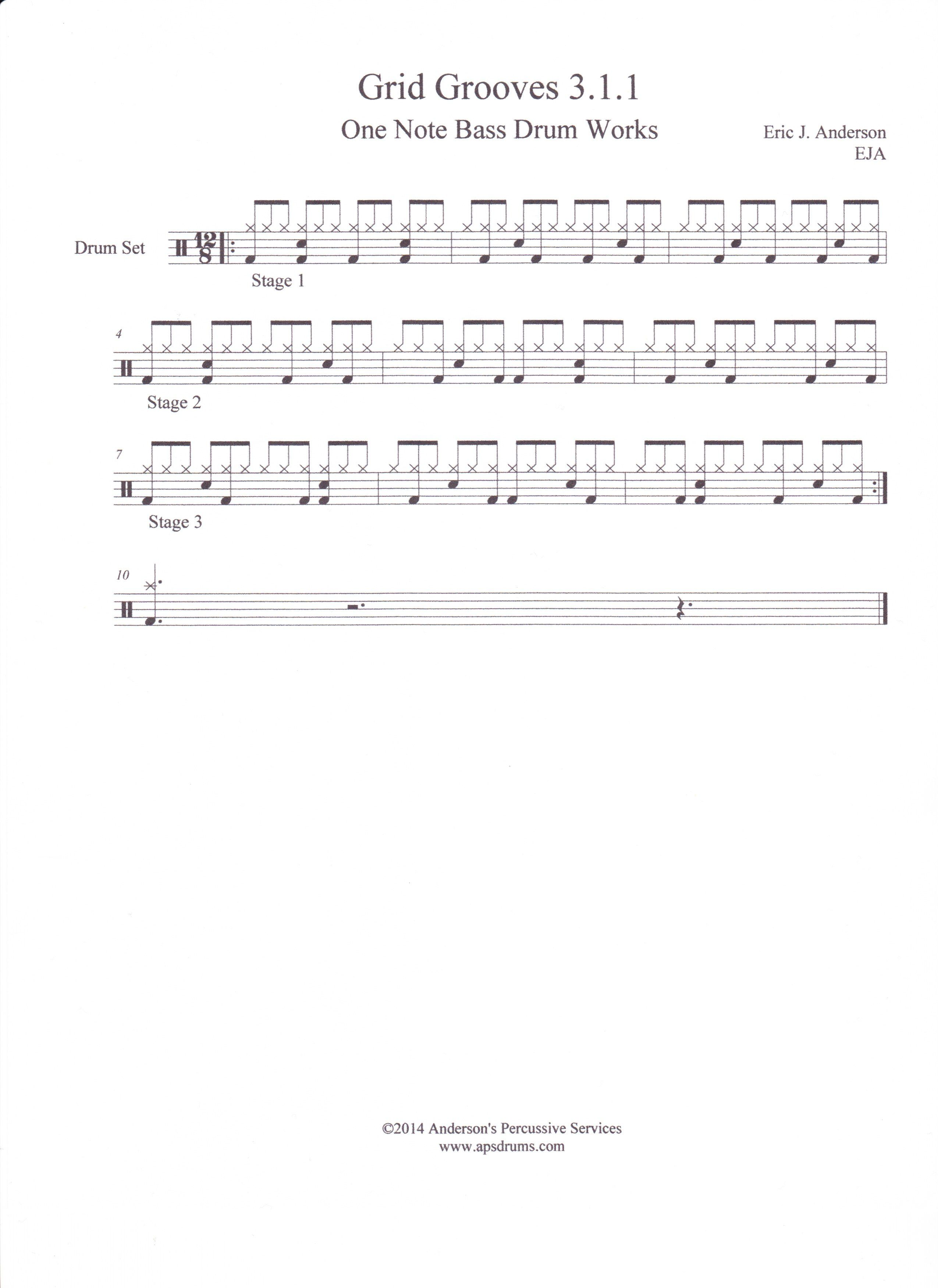 Basic Grid Groove with a 6/8 feel.  It is written in 12/8 to facilitate the 4-2-1 Grid concept