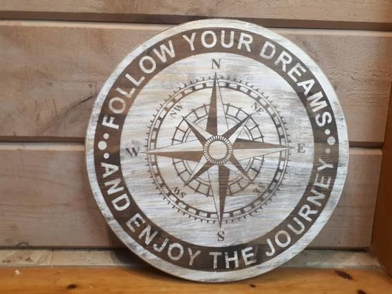 Photo of Rustic Nautical Decor, Rustic Compass, Rustic Cabin Decor, Nautical Bedroom Decor, Nautical Compass, Follow Your Dreams, Enjoy the Journey