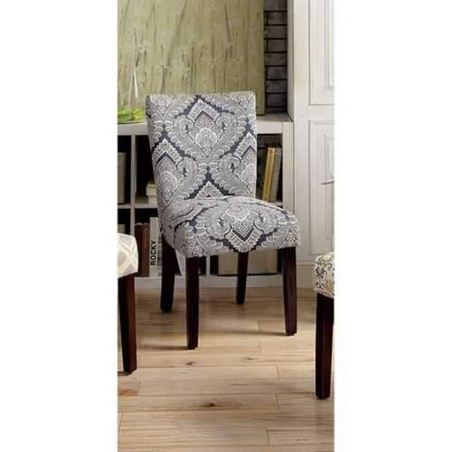Prue Contemporary Side Chair, White & Blue Palmette ...