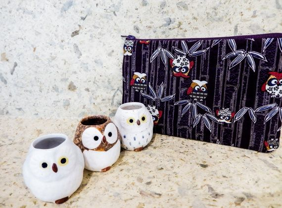 Owl Fabric Pouch Coin Purse Change Pouch by handjstarcreations