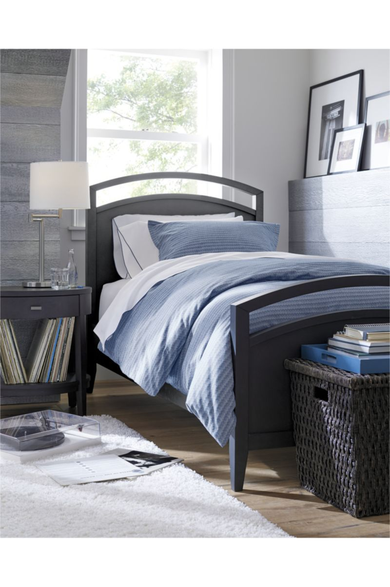 Arch charcoal king bed crate and barrel