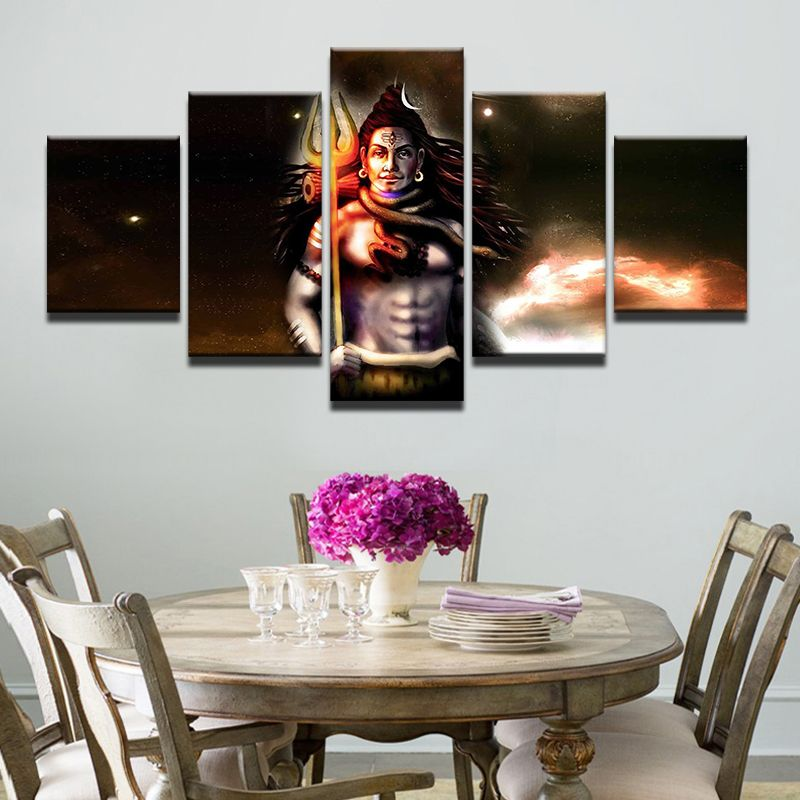 Frame 5 Panels India God Shiva Painting Printed Canvas Wall Art Posters Prints Home Decor Wall Art Poster Wall Art Buddha Canvas