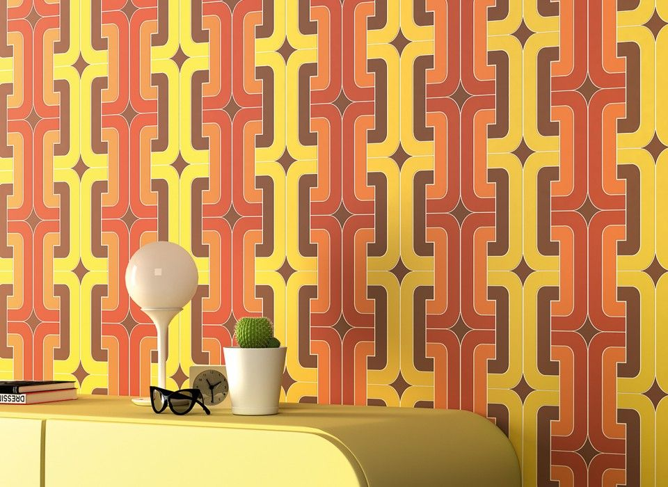 Vintage Wallpaper Retro 60s and 70s Designs Mod Hippie Wall Art Home Decor Wall Paper Sold per Roll of 11 yards Home Décor