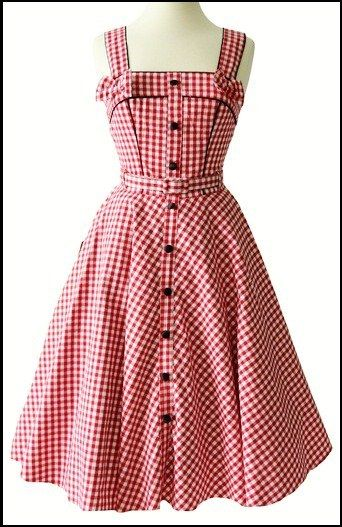3162ccc8ce71 ROCKABILLY GALS FASHION - RED WHITE GINGHAM DRESS