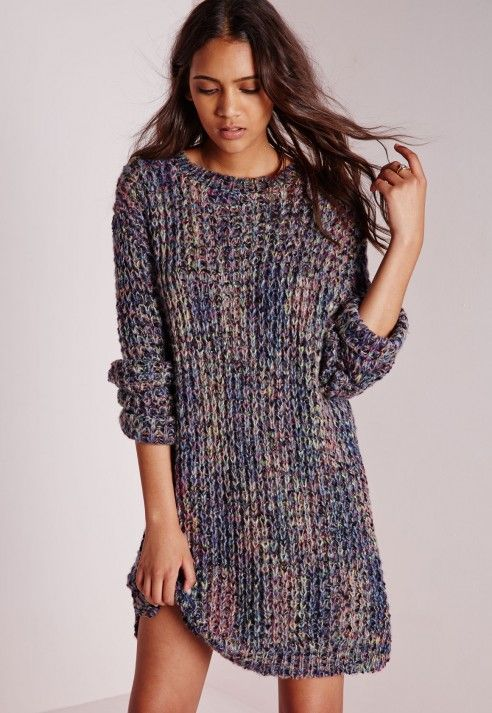 0200e4682dca Robe-pull multicolore en grosses mailles - Tricots - Robes-pulls -  Missguided
