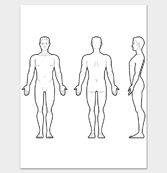graphic about Printable Outline of Human Body Front and Back titled Human Overall body Define Entrance and Again PDF Define Templates