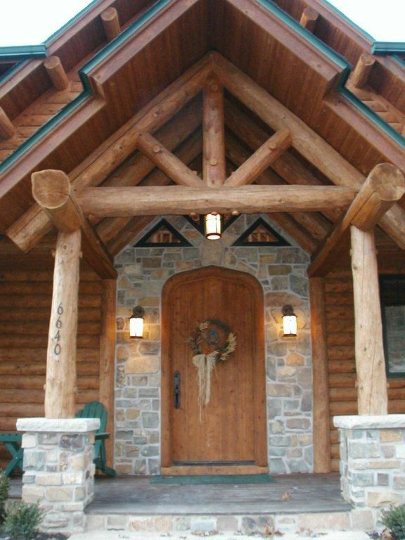 Very Unique Log And Stone Entryway Log Homes Log
