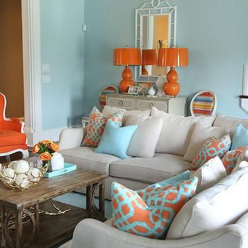 Best Blue And Orange Living Room Contemporary Living Room 400 x 300