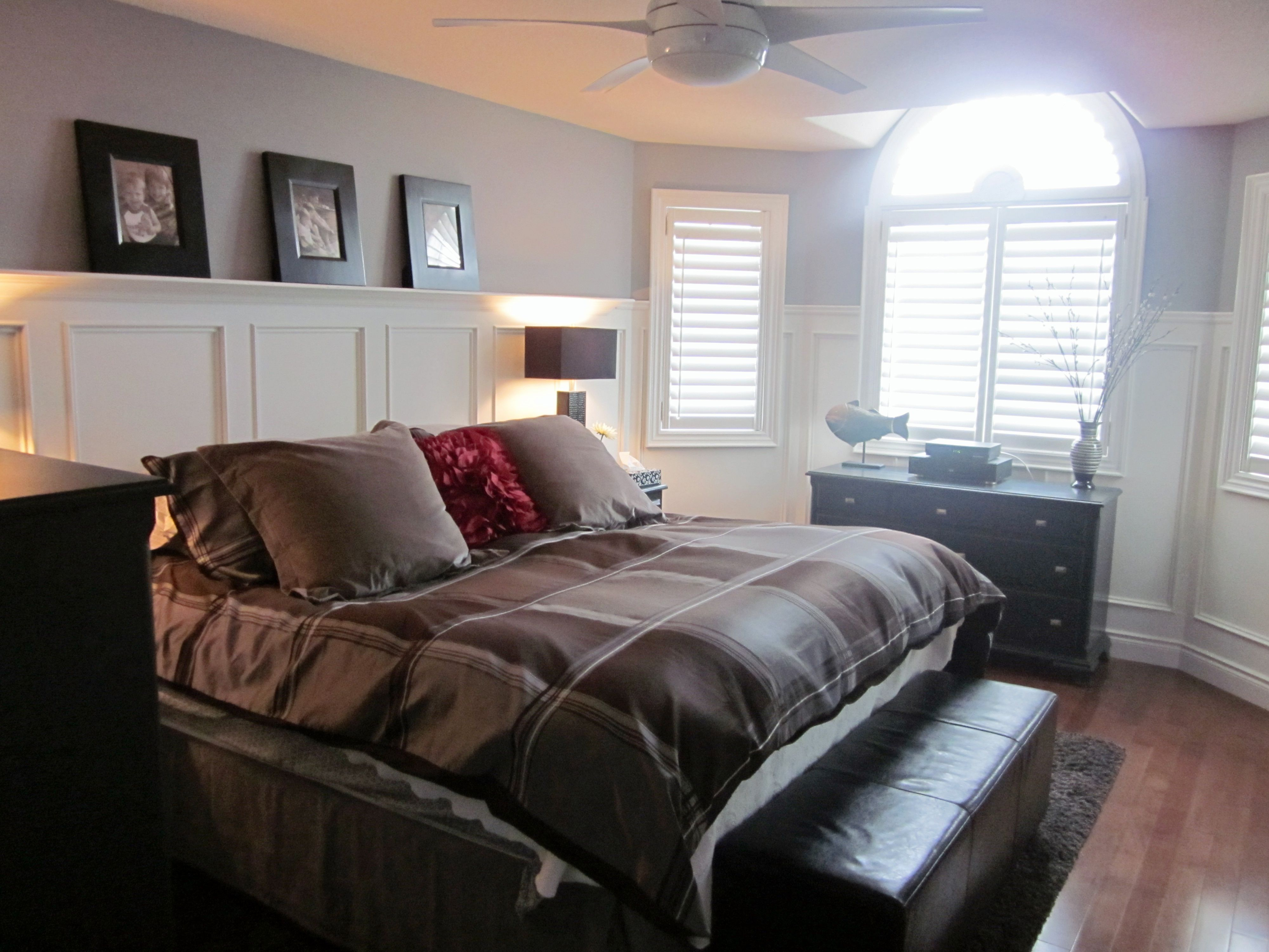 Interior Wainscoting Bedroom Ideas master bedroom with simple white bed linens an upholstered beautify your interiors gorgeous wainscoting designs ideas