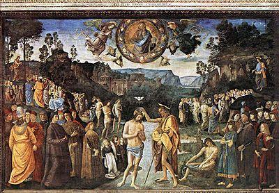 Battesimo di Cristo AutorePerugino e aiuti Data1482 circa Tecnicaaffresco Dimensioni335 cm × 540 cm  UbicazioneCappella Sistina, Città del Vaticano