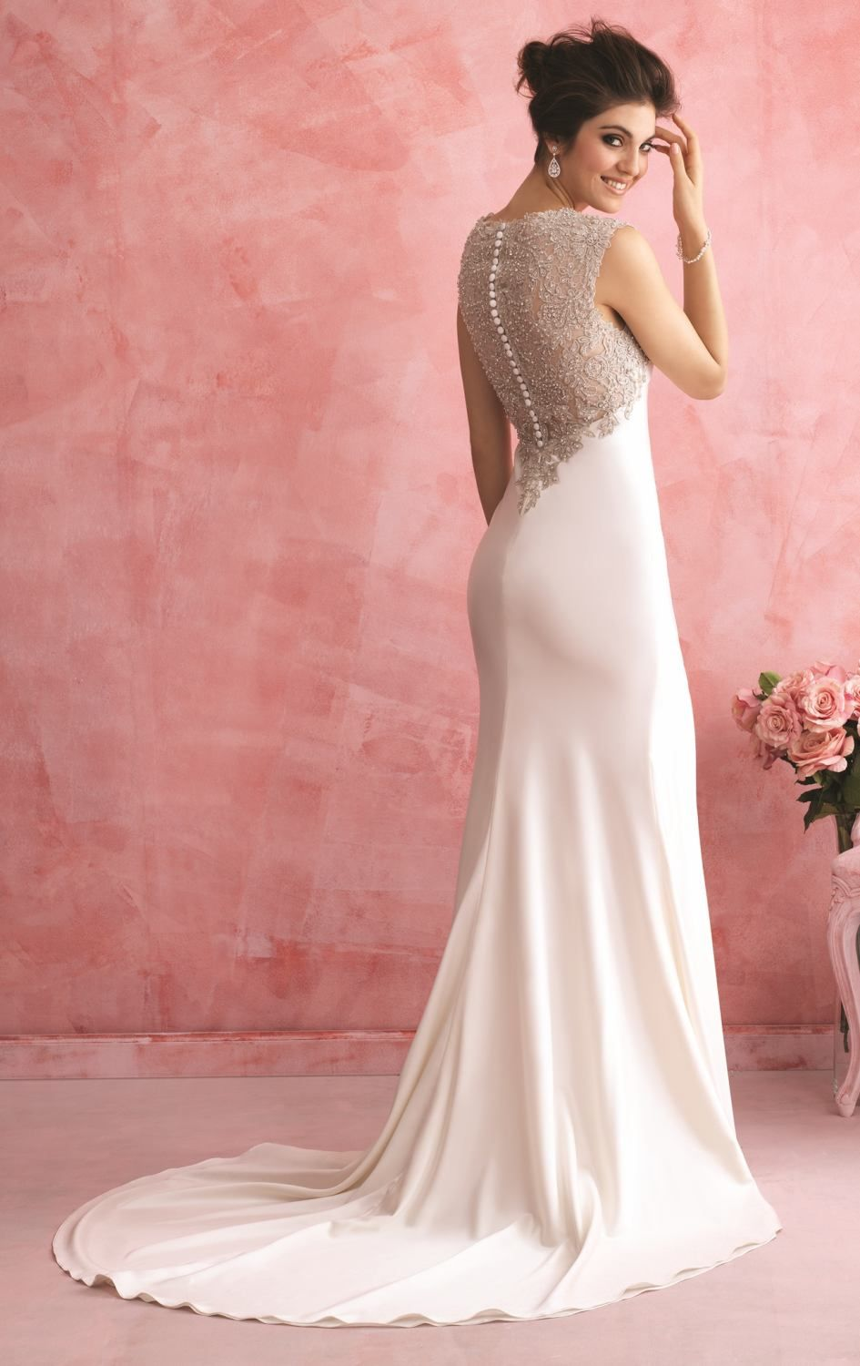 Beaded Crepe Charmeuse Gown by Allure Bridals Romance