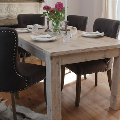 White Wash Inlay Reclaimed Wood Dining Table Modish Living