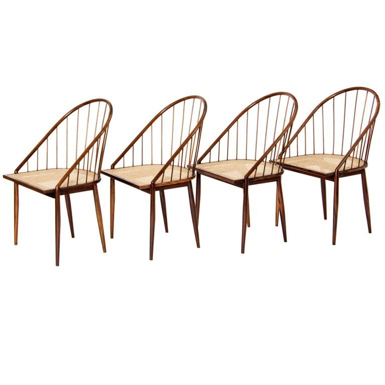 Four Brazilian Mid Century Dining Chairs By Joaquim Tenreiro