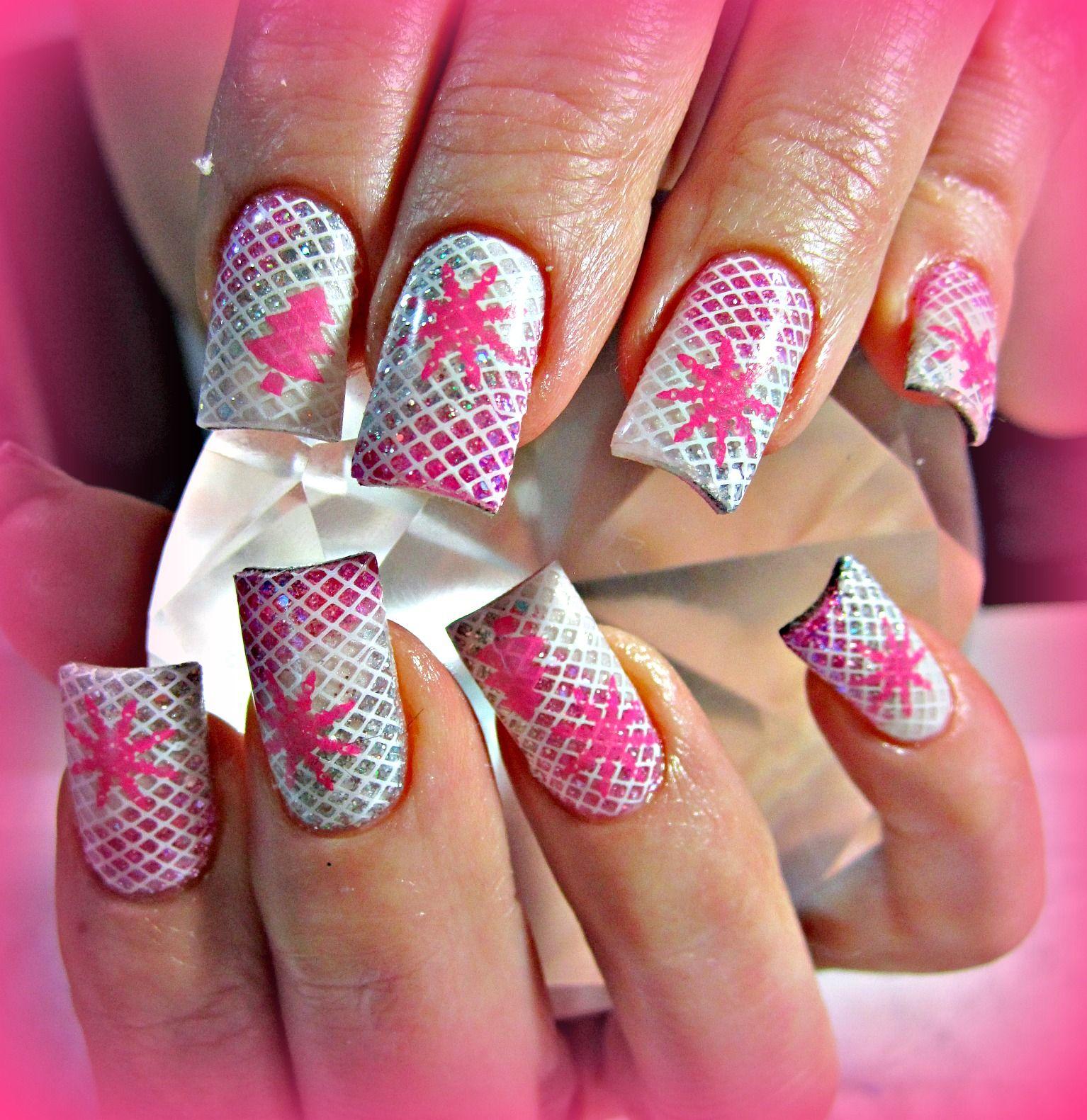 pink christmas acrylic nails