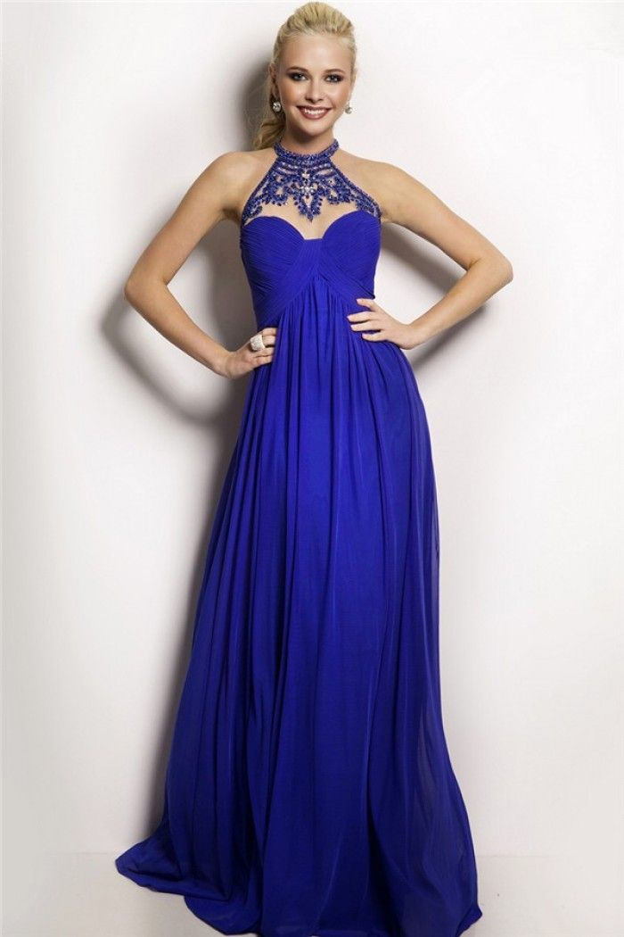 flowing high neck empire waist long royal blue chiffon beaded prom