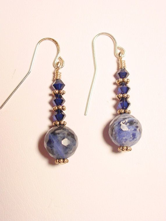 Sodalite and Swarovski Crystal Dangle Earrings by Frisado on Etsy
