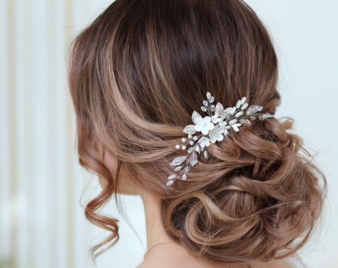 Champagner Haar Blume Weiß Blumen Braut Haar Kamm Hochzeit Kopfschmuck Elfenbei… – Braut Haarschmuck