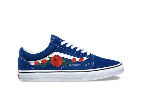 9479372a44 Blue old skool Vans rose