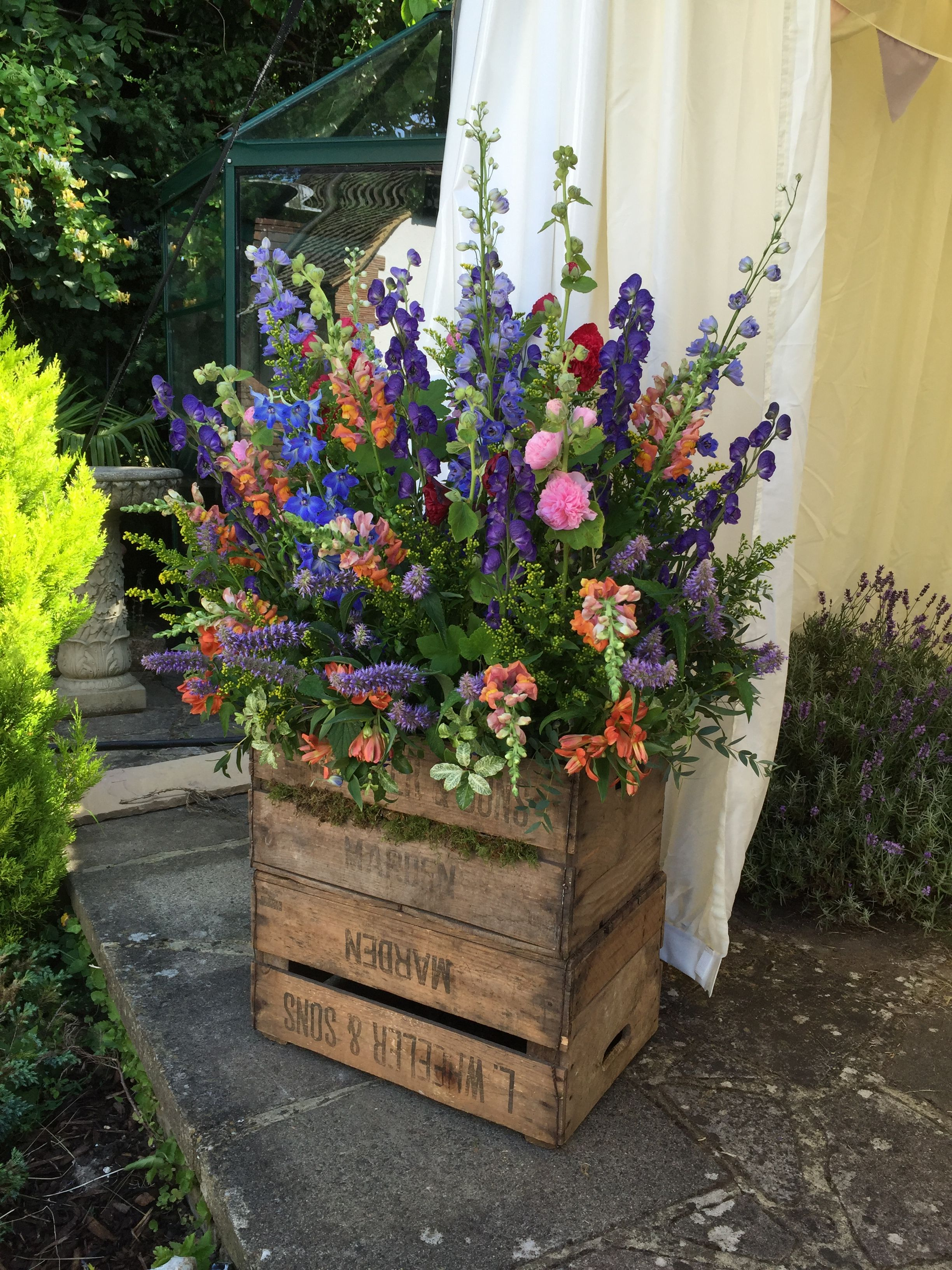 Flower Crate Pedestal Wedding Display By Boutique Blooms Floral Design Styling Surrey Flowers