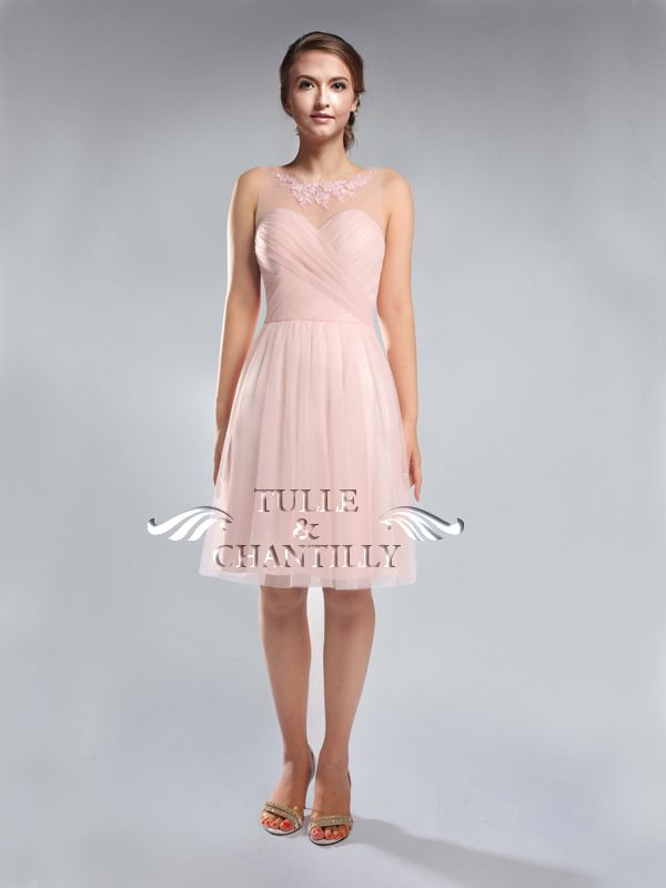 Pretty Tulle Bridesmaid Dress in Cocktail Length TBQP301 | Blush ...