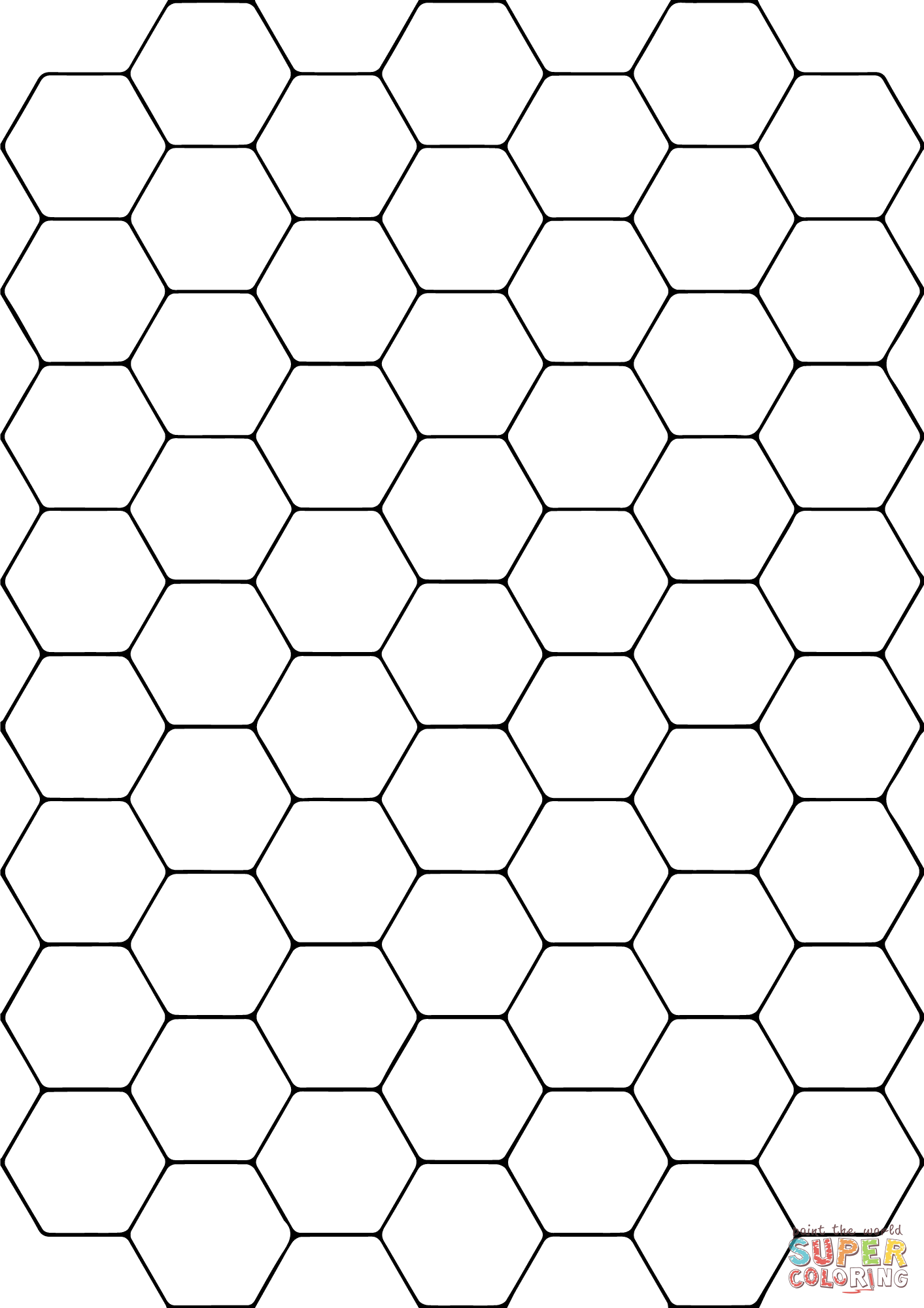 Tessellation with Hexagon coloring page | Free Printable Coloring ... #bible