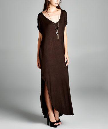 Look at this #zulilyfind! Dark Chocolate Pocket Maxi Dress ...