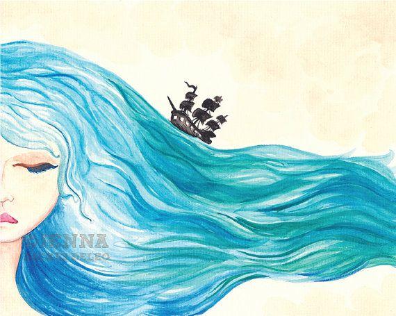 Ocean Daydream Watercolor Illustration Art Print By Jennadickes