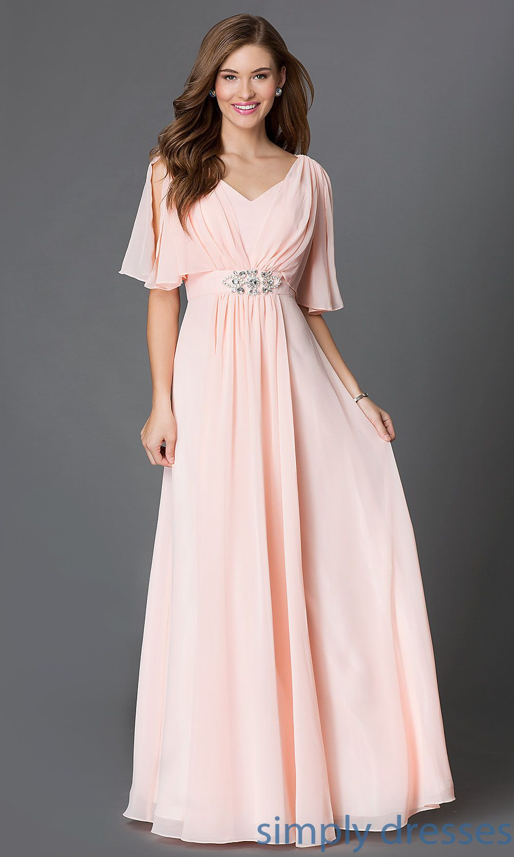 Shop long flutter-sleeve dresses and mother-of-the-bride dresses at Simply  Dresses. Long budget prom dresses with empire-waists for formals. 54271368896f