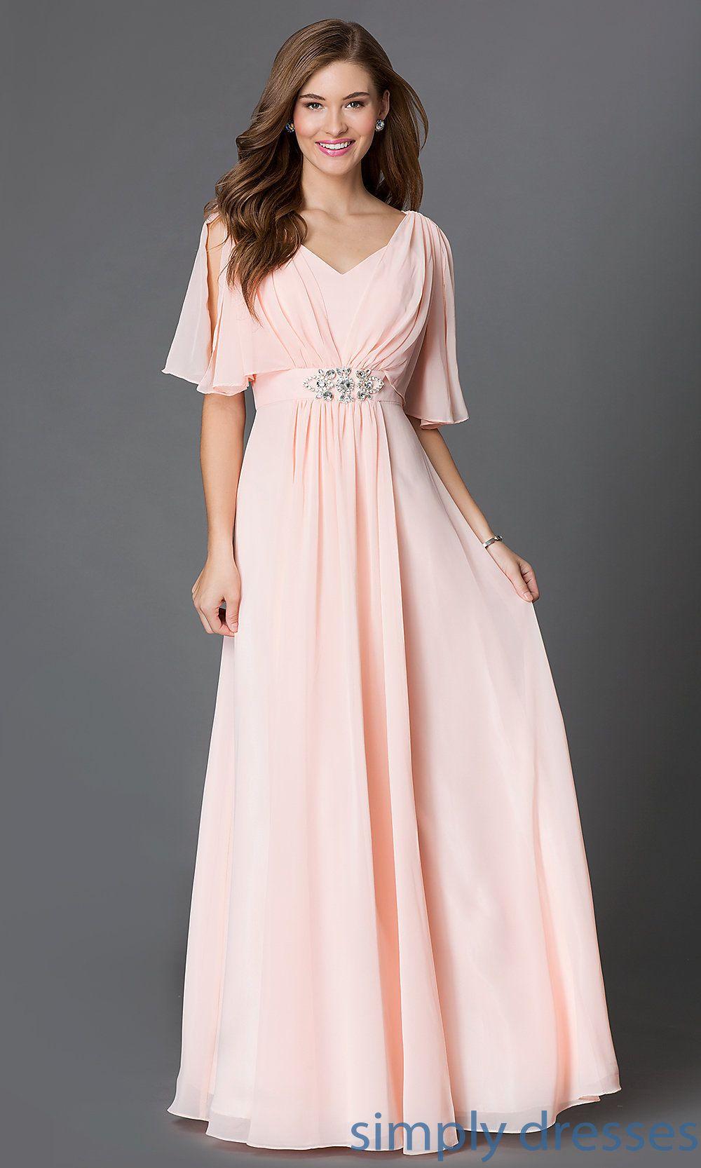 FloorLength EmpireWaist Dress with Sleeves Flutter