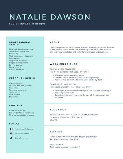 Pale Turquoise Social Media Manager Simple Resume