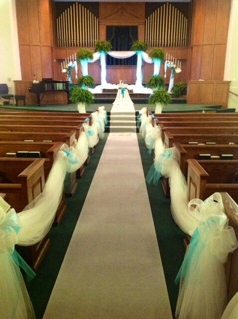 Teal church wedding by elegant happenings church decoration teal church wedding by elegant happenings junglespirit Image collections