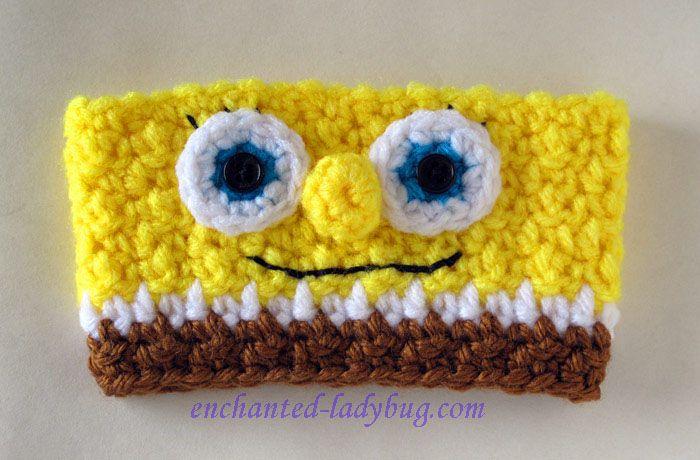 Free Crochet Spongebob Coffee Cup Cozy pattern by The Enchanted Ladybug #coffeecup